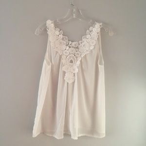 Sheer white top with lace trim top